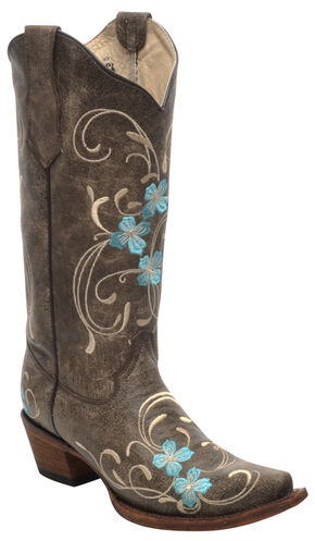 Corral Brown Cowhide Floral Cowgirl Boots - Snip Toe , Brown, hi-res