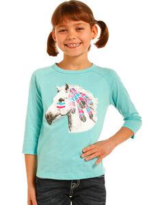 Rock & Roll Cowgirl Girls' War Pony Baseball Tee, , hi-res
