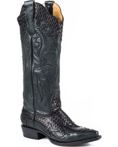 Stetson Women's Bailey Black Basketweave Western Boots - Snip Toe, , hi-res