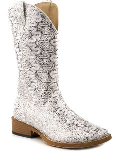 Roper Bling Lace Glitter Faux Leather Cowgirl Boots - Square Toe, , hi-res
