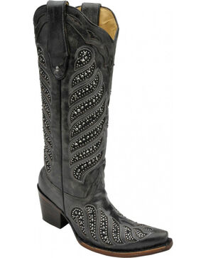 Corral Women's Crystal Inlay Cowgirl Boots - Snip Toe, Black, hi-res