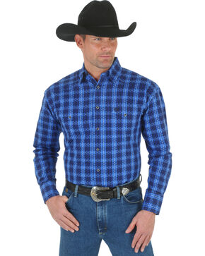 Wrangler George Strait Troubadour Blue and Black Plaid Western Shirt, Blue Plaid, hi-res