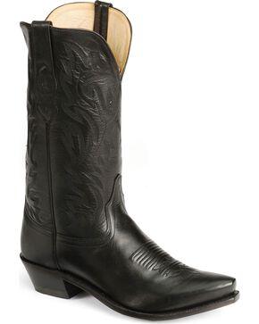 Old West Leather Cowboy Boots - Snip Toe, Black, hi-res