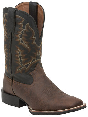 Tony Lama Brown Pitstops 3R Western Work Boots - Square Toe, Brown, hi-res