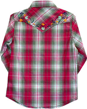 Cowgirl Hardware Girl's Floral Embroidered Plaid Long Sleeve Shirt, Pink, hi-res