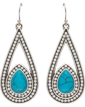 Wrangler Rock 47 Campfire Coals Blue Stone & Stars Drop Earrings, Silver, hi-res