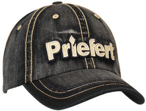 Priefert Faded Black Denim Casual Cap, Black, hi-res