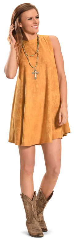 Cowgirl Justice Women's Sunset Gold Faux Suede Dress, , hi-res