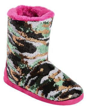 Blazin Roxx Girls' Sequin Camo Bootie Slippers, Hot Pink, hi-res