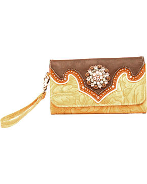 Blazin Roxx Tan and Brown Embossed Clutch Wallet, Tan, hi-res