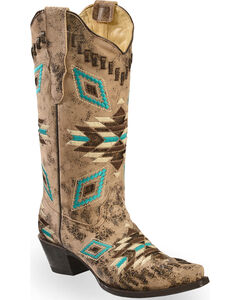 Corral Distressed Aztec Pattern Cowgirl Boots - Snip Toe, , hi-res