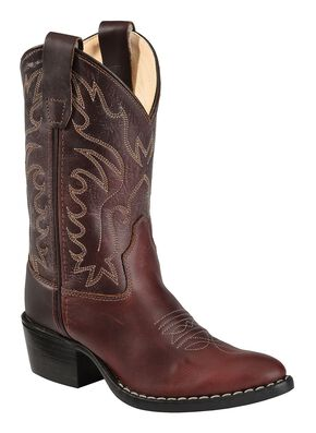 Old West Youth Girls' Oiled Western Cowboy Boots, Oiled Rust, hi-res