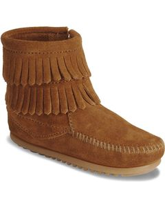 Minnetonka Girls' Double Fringe Side-Zip Moccasin Boot, Brown, hi-res