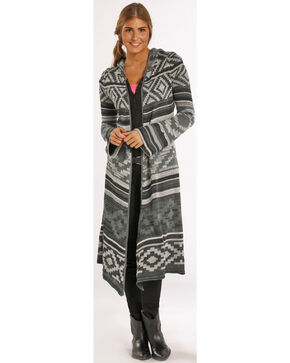 Panhandle Slim Women's Grey Aztec Hooded Duster, Grey, hi-res