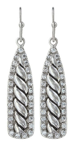 Montana Silversmiths Women's Tapered Twisted Rope & Rhinestone Earrings, , hi-res