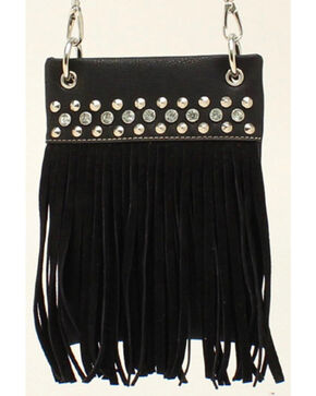 Blazin Roxx Women's Fringe Crossbody Bag, Black, hi-res