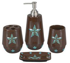 HiEnd Accents Turquoise Star 4-Piece Bathroom Set, Brown, hi-res