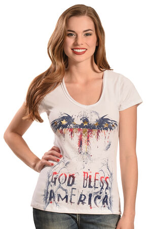 Liberty Wear Women's White God Bless America Top - Plus Sizes, White, hi-res
