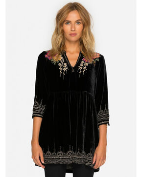 Johnny Was Women's Black Flores Velvet Boho Henley Dress , Black, hi-res