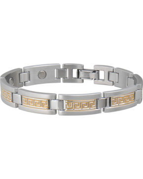 Sabona Men's Greek Key Duet Magnetic Bracelet, Two Tone, hi-res