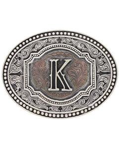 "Montana Silversmiths Men's Initial ""K"" Two-Tone Attitude Belt Buckle, , hi-res"