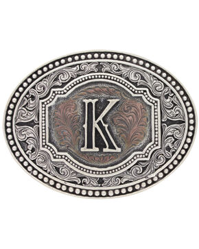 "Montana Silversmiths Men's Initial ""K"" Two-Tone Attitude Belt Buckle, Silver, hi-res"