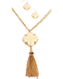 Ethel & Myrtle White Clover Tassel Jewelry Set, , hi-res