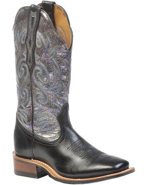 Boulet Fancy Stitched Metallic Cowgirl Boots - Square Toe, Black, hi-res