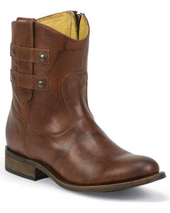 Justin Women's Brandy Wizard Short Western Boots - Round Toe, Brown, hi-res