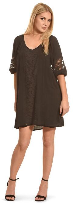 Angel Ranch Women's Black Lace Peasant Dress , , hi-res