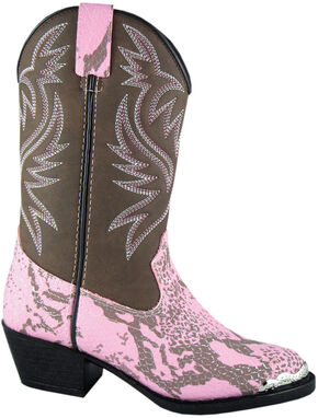 Smoky Mountain Youth Girls' Cody Snake Print Western Boots - Round Toe, Pink, hi-res