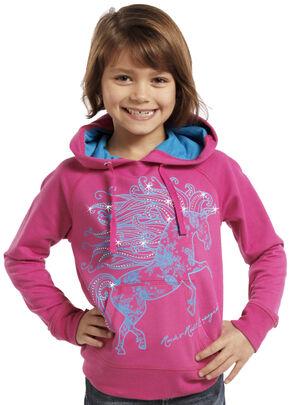 Rock & Roll Cowgirl Girls' Glitter Horse Hoodie, Pink, hi-res
