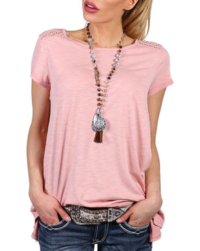 Shyanne Women's Baby Doll Knit Short Sleeve Shirt, Coral, hi-res