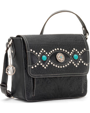 American West Women's Love Me Tender Crossbody Flap-Top Bag, Black, hi-res