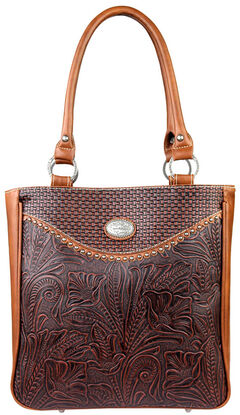 Montana West Trinity Ranch Tooled Design Concealed Handgun Collection Handbag, Brown, hi-res