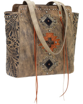 American West Navajo Soul Zip Top Tote, Dark Brown, hi-res