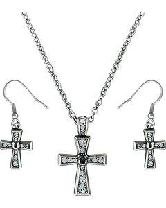 Montana Silversmiths Vintage Horseshoe Cross Jewelry Set, , hi-res