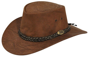Jacaru Kangaroo Brown Leather Outback Hat, Chestnut, hi-res