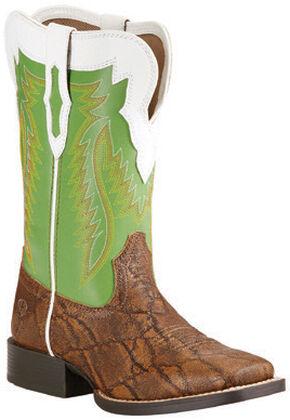 Ariat Youth Boys' Elephant Print Buscadero Cowboy Boots - Square Toe, Tan, hi-res