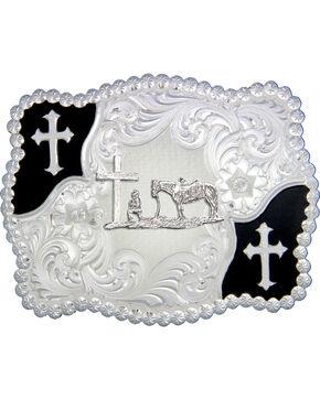 Montana Silversmiths Cowboy & Crosses Buckle, Silver, hi-res