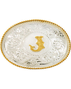 "Montana Silversmiths Initial ""J"" Buckle, Silver, hi-res"