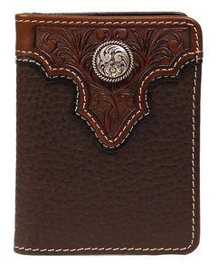 Ariat Tooled Overlay Concho Bi-fold Wallet, , hi-res