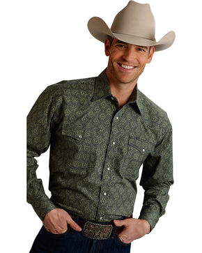 Roper Men's Amarillo Collection Green Print Snap Long Sleeve Shirt, Green, hi-res