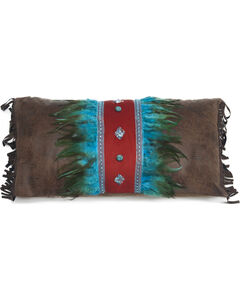 Carstens Turquoise Feather and Diamonds Pillow, , hi-res