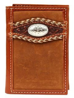 Ariat Tooled Overlay Concho Tri-fold Wallet, , hi-res