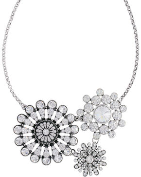 Rock 47 by Montana Silversmiths Vintage Kitsch Diamante Flower Necklace, Silver, hi-res