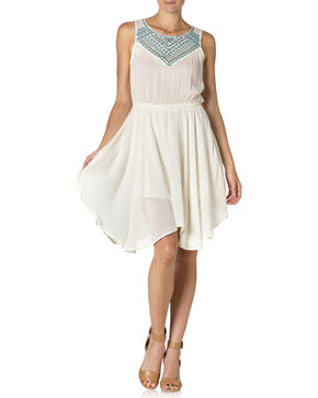 Miss Me Ivory Sleeveless Embroidered Dress, Ivory, hi-res