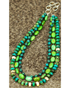 Isac West Three Strand Multi-Shape Turquoise Necklace, , hi-res