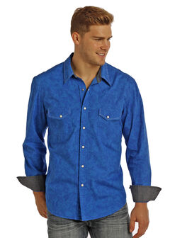 Rock & Roll Cowboy Men's Blue Paisley Print Long Sleeve Shirt , Blue, hi-res