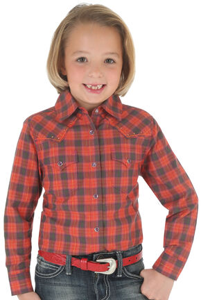 Wrangler Rock 47 Girls' Red Plaid Snap Shirt, Red, hi-res